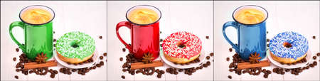 coffeetime: red, green and blue cup of Coffee set. Collage background Stock Photo