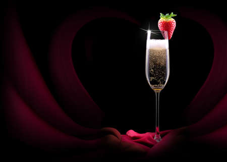 luxury champagne glass with a red silk photo