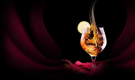 drunks: Cognac or brandy on a  black background Stock Photo