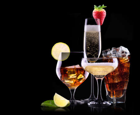 different alcohol drinks set  - beer, wine, cocktail, juice, champagne, scotch, soda photo