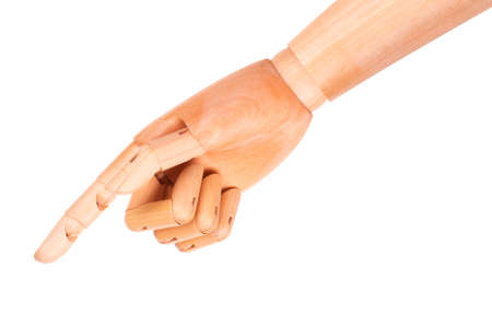 image of a wooden finger pointing  or touching isolated on a white background photo
