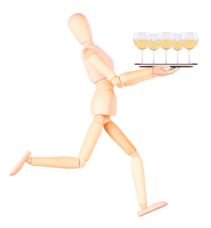 wooden Dummy waiter with wine glass on silver tray Isolated Over White Background photo