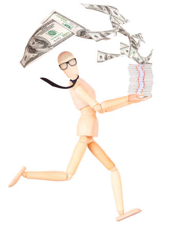 wooden Dummy businessman with tie and glasses showing money Isolated photo