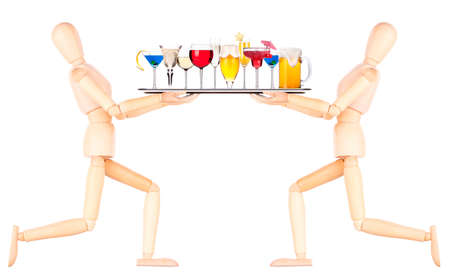 wooden Dummy waiter with tray full of alcoholic drinks and cocktails - beer,martini,soda,champagne,whiskey,wine,cola,cocktail photo