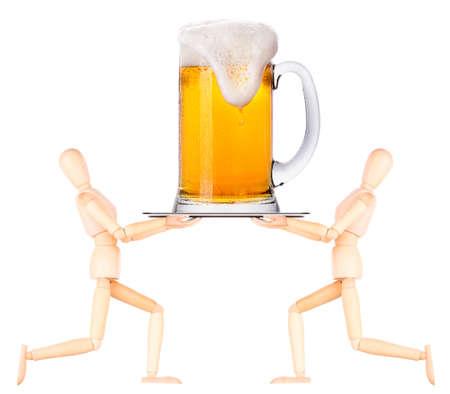 wooden Dummy waiter with frosty glass of light beer on silver tray set isolated on a white background photo