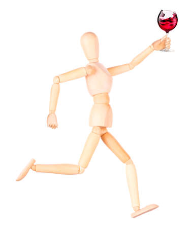 wooden Dummy with wine making toast Isolated Over White Background photo