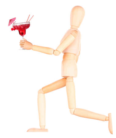 wooden Dummy with alcohol cocktail Isolated Over White Background photo