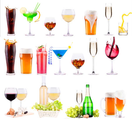 different alcohol drinks set  - beer, wine, cocktail,juice, champagne, scotch, soda photo