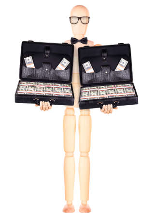 wooden Dummy businessman holding  case with money Isolated photo