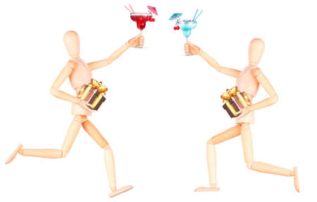 wooden Dummy with alcohol cocktail and gift Isolated Over White Background photo