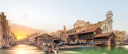 Station for repair gondolas, boats, ship in Venice, Italy photo