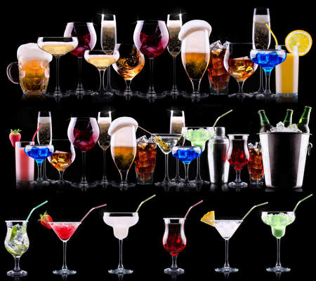 different alcohol drinks set  - beer, wine, cocktail,juice, champagne, scotch, soda Stock fotó - 29218035