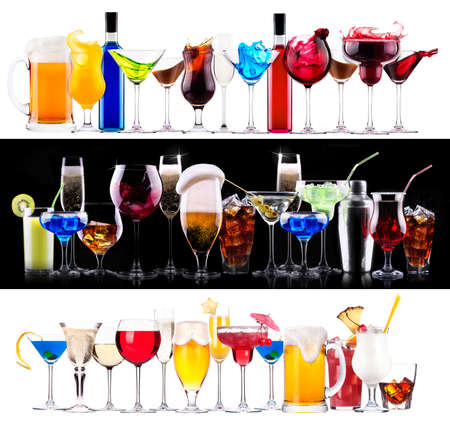 Set of different alcoholic drinks and cocktails - beer,martini,soda,champagne,whiskey,wine,cola,cocktail Stock fotó - 29365958