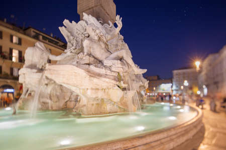 Fountain of the Four Rivers in Piazza Navona at night, Rome, ItalyRome photo