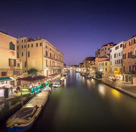 residential neighborhood: Night scene in historic residential neighborhood in Venice, Italy