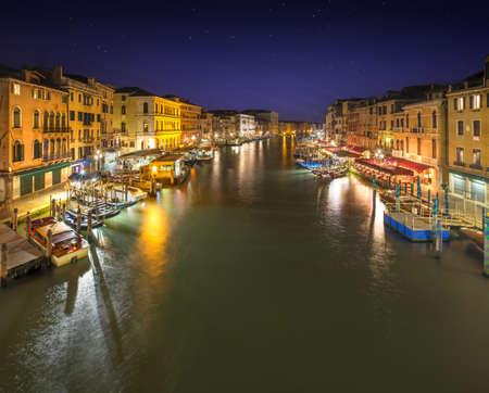 rialto: Grand Canal at night from Rialto bridge in Venice, Italy