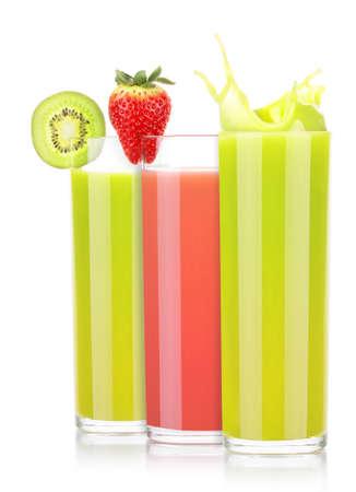 tasty summer fruit drinks in glass with splash photo