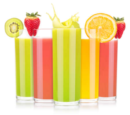 tasty summer fruit drinks in glass with splash photo