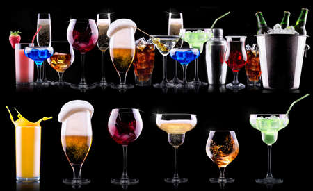 different alcohol drinks set photo