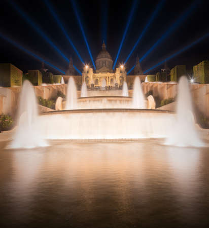 espanya: night view of Magic Fountain in Barcelona