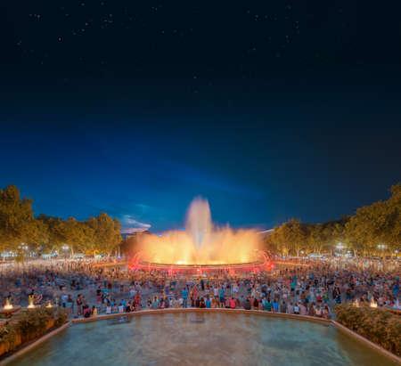 dancing house: night view of Magic Fountain in Barcelona