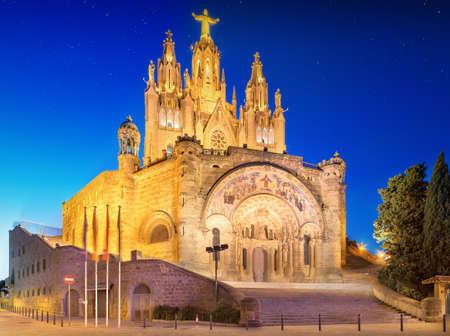 tibidabo: Tibidabo church on mountain in Barcelona