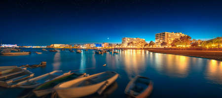town house: Ibiza island night view