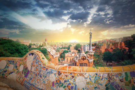 Park Guell in Barcelona, Spain 스톡 콘텐츠