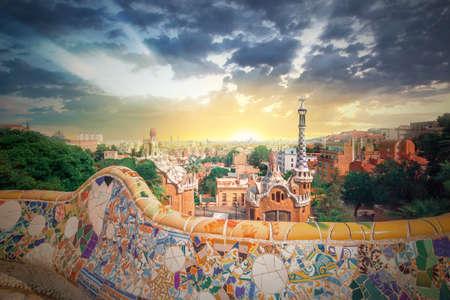 Park Guell in Barcelona, Spain Archivio Fotografico