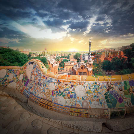 gaudi: Park Guell in Barcelona, Spain Stock Photo