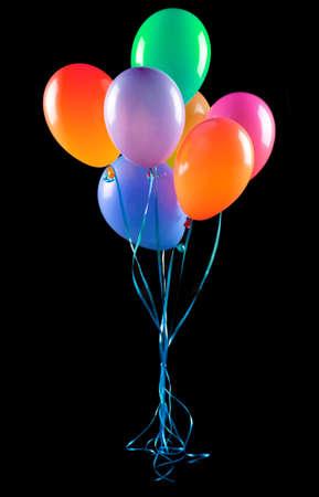 birthday background: flying balloons isolated Stock Photo