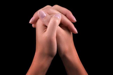 overwhite: Two hands praying Stock Photo