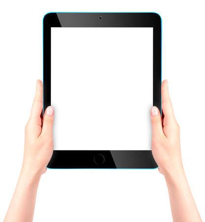 Touch screen tablet computer with hand photo