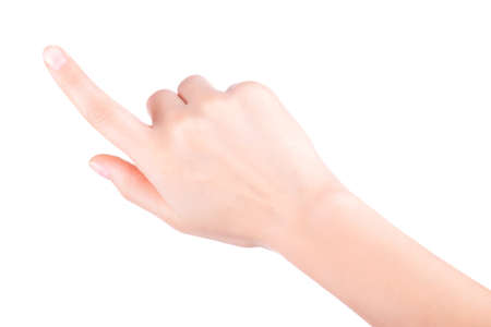 womans finger pointing or touching photo