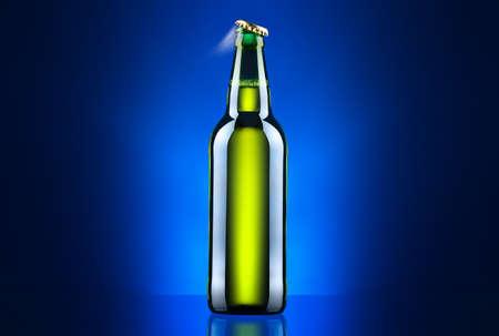 single beer bottle: open wet beer bottle Stock Photo