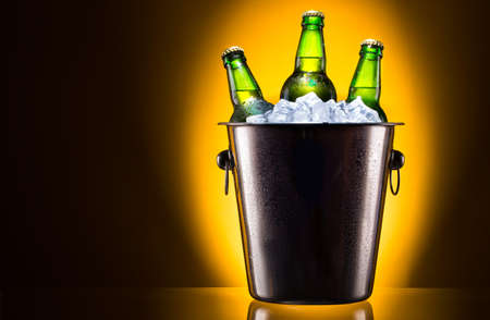 Beer bottles in ice bucket isolated on colored background photo