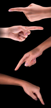 image of a womans finger pointing  or touching isolated on black background photo