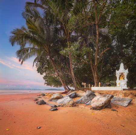 beautiful beach with colorful sky, Thailand photo