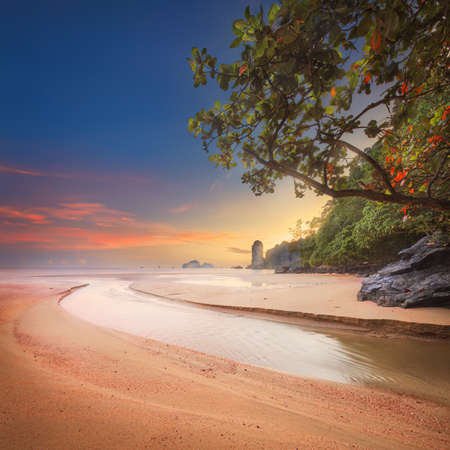 vacaton: beautiful beach with colorful sky, Thailand