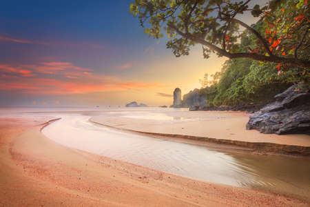 vacaton: beautiful beach with colorful sky in Thailand