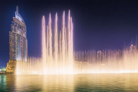 biggest: The dancing fountain Burj Khalifa in Dubai, UAE Editorial