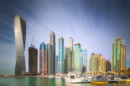 De schoonheid panorama van Dubai Marina. VAE Stockfoto