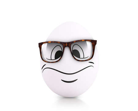 droll: Concept white egg with emotions in clothes
