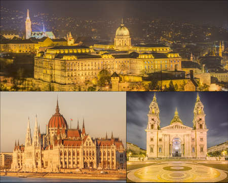 floodlit: The beauty panorama of attractions Budapest.