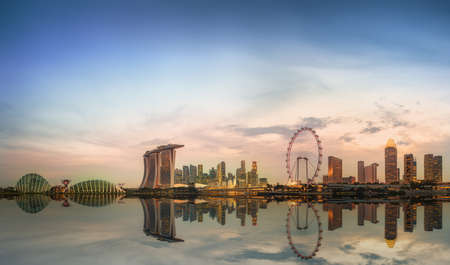 singapore city: Singapore Skyline and view of Marina Bay Editorial