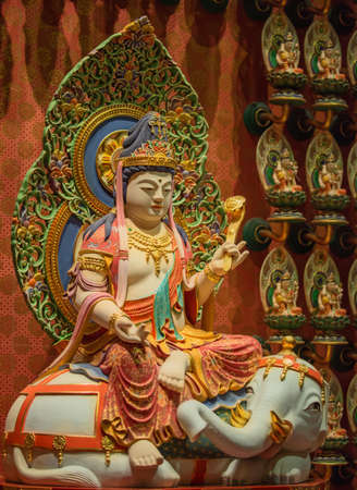 relic: The Lord Buddha in Chinese Buddha Tooth Relic Temple, Singapore Stock Photo