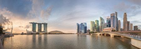 singapore skyline: Singapore Skyline and view of Marina Bay Editorial