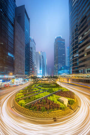 hong: Modern city streets and office buildings in Central Hong Kong, China.