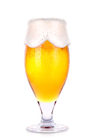unbottled: Frosty glass of light beer isolated on a white background