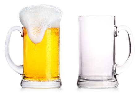 Frosty glass of light beer and empty glass isolated on a white background 版權商用圖片